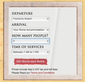 Rome Cabs Booking Transfer Form